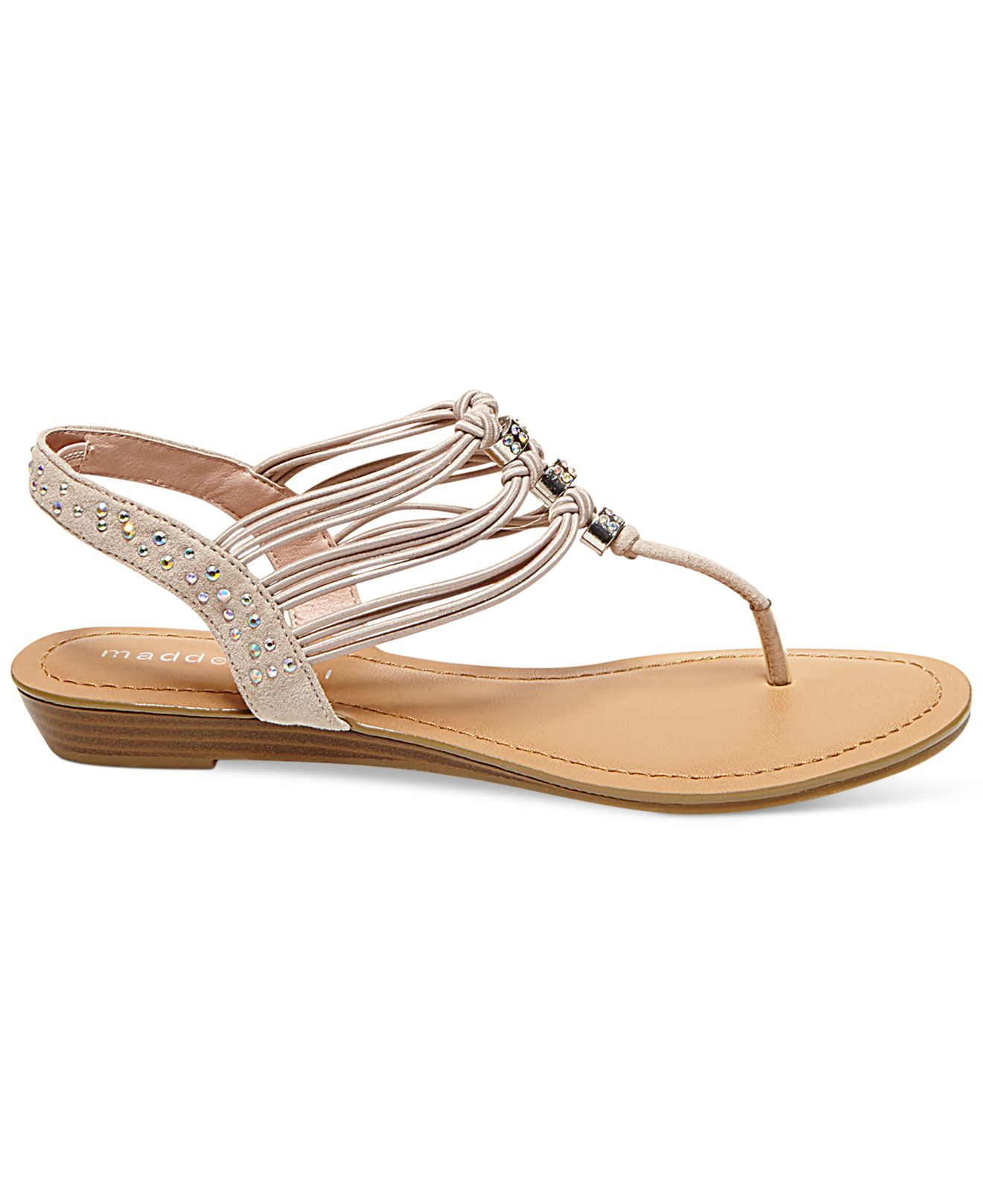 2a009446e20b8 Lyst - Madden Girl Thrill T-strap Flat Thong Sandals in Pink