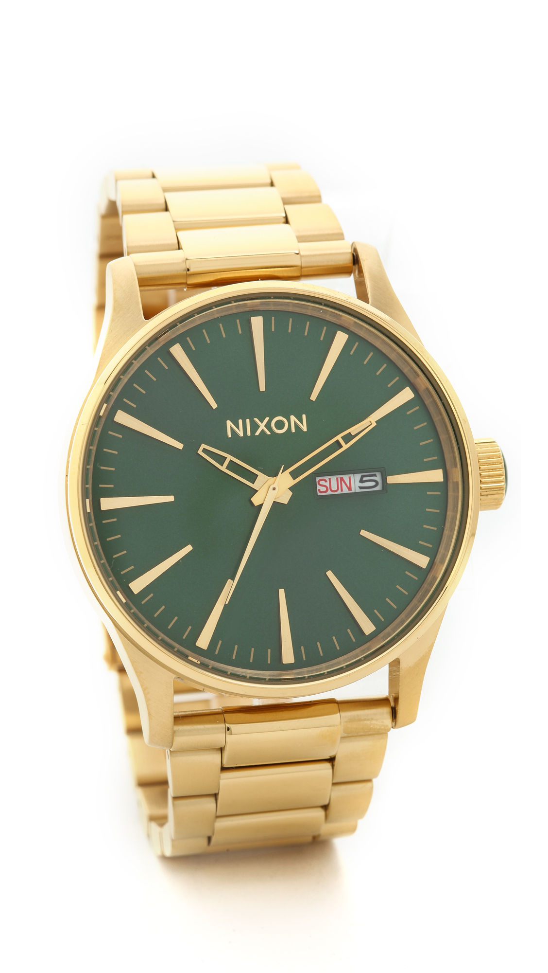 Lyst nixon sentry ss watch gold green in metallic for Watches gold