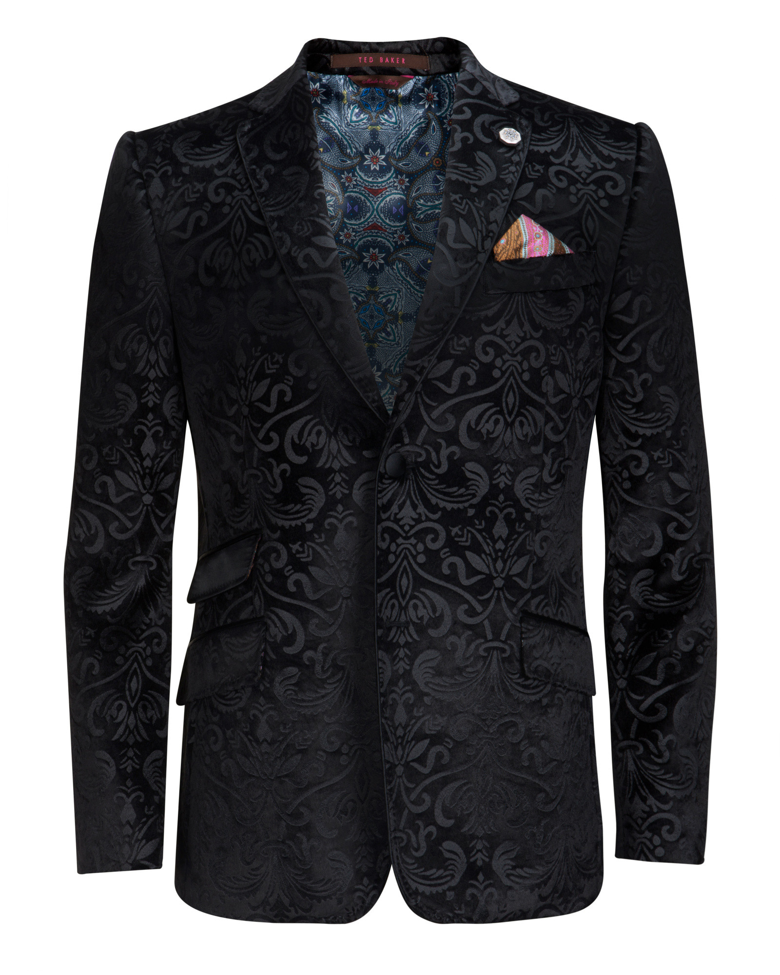 Lyst Ted Baker Velvet Pattern Jacket In Black For Men