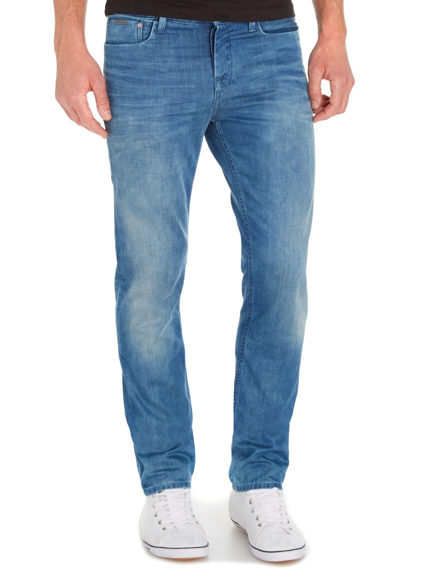 calvin klein slim straight jean in blue for men lyst. Black Bedroom Furniture Sets. Home Design Ideas