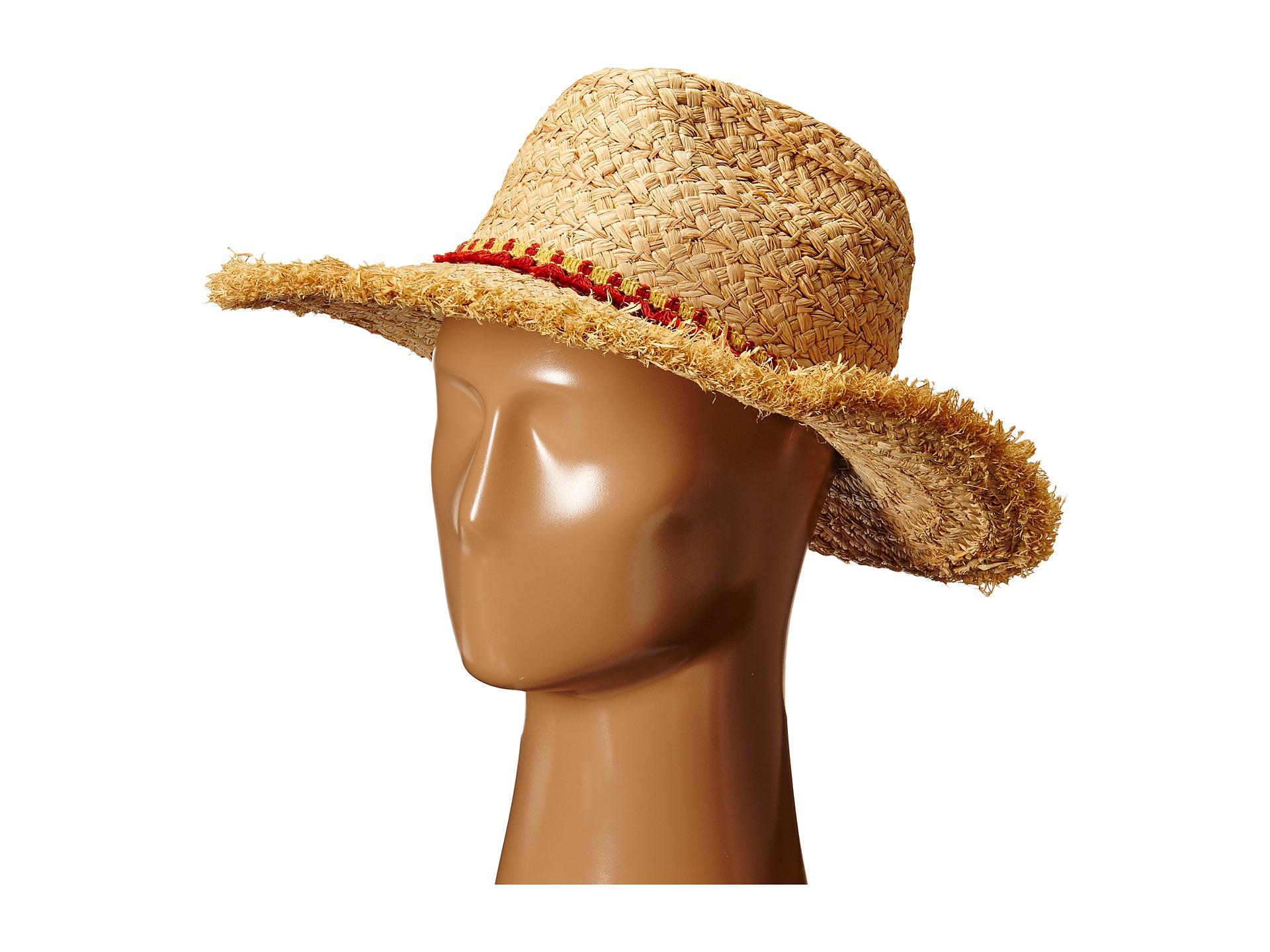 60952cefff2 Lyst - Hat Attack Thick Raffia Braid Fringed Sunhat With Tassel Trim ...