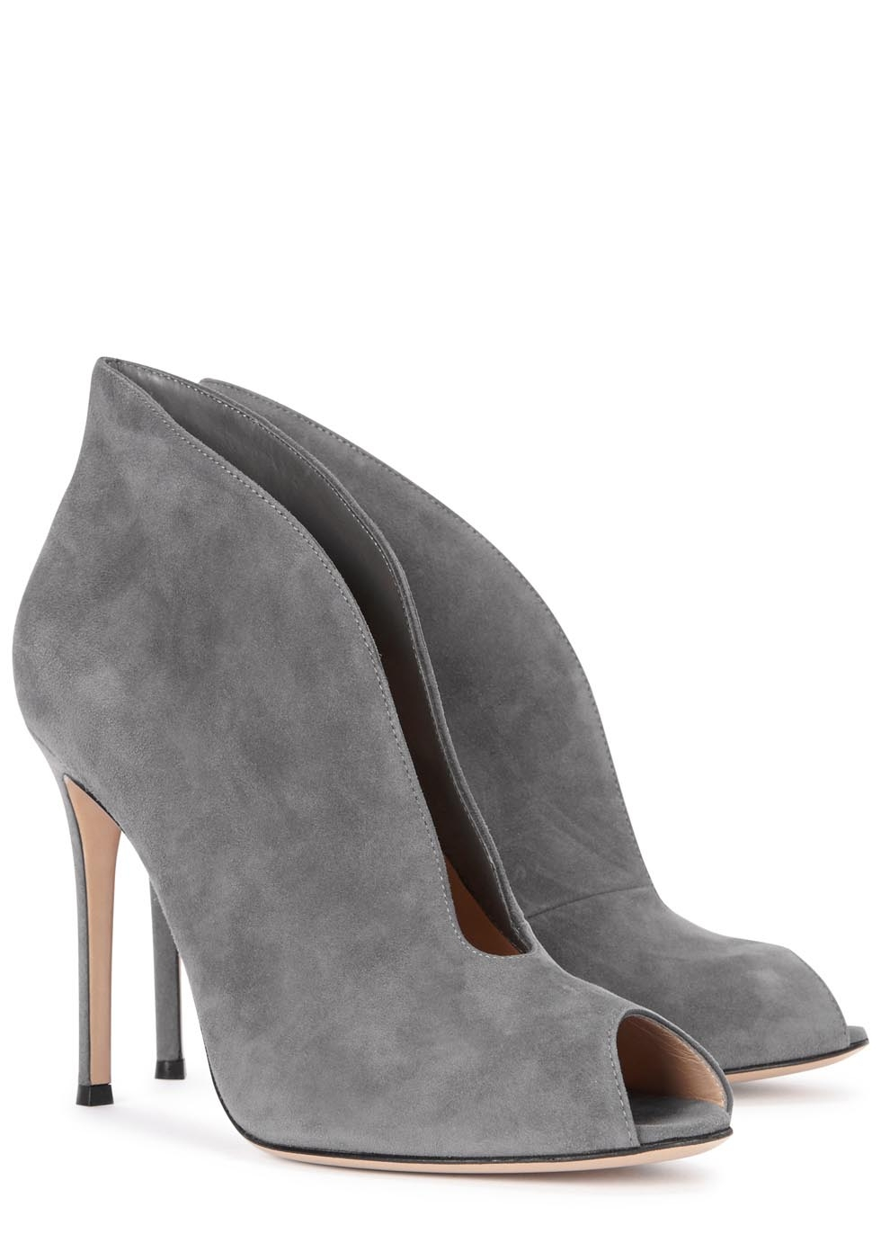 Gianvito Rossi Vamp Grey Suede Ankle Boots In Gray Lyst