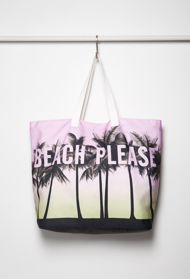 Forever 21 Beach Please Canvas Tote in Purple | Lyst