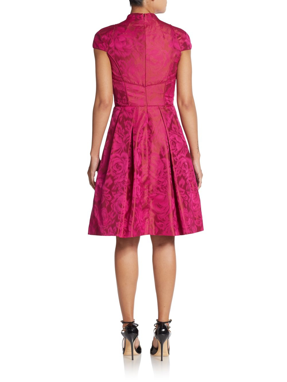 Theia Floral Print Taffeta Fit And Flare Dress In Magenta