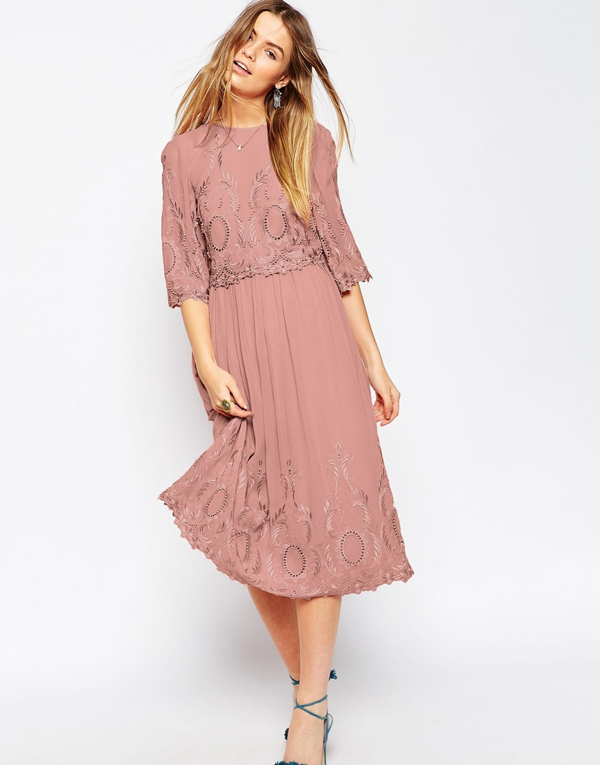 Asos premium midi embroidered dress in pink lyst