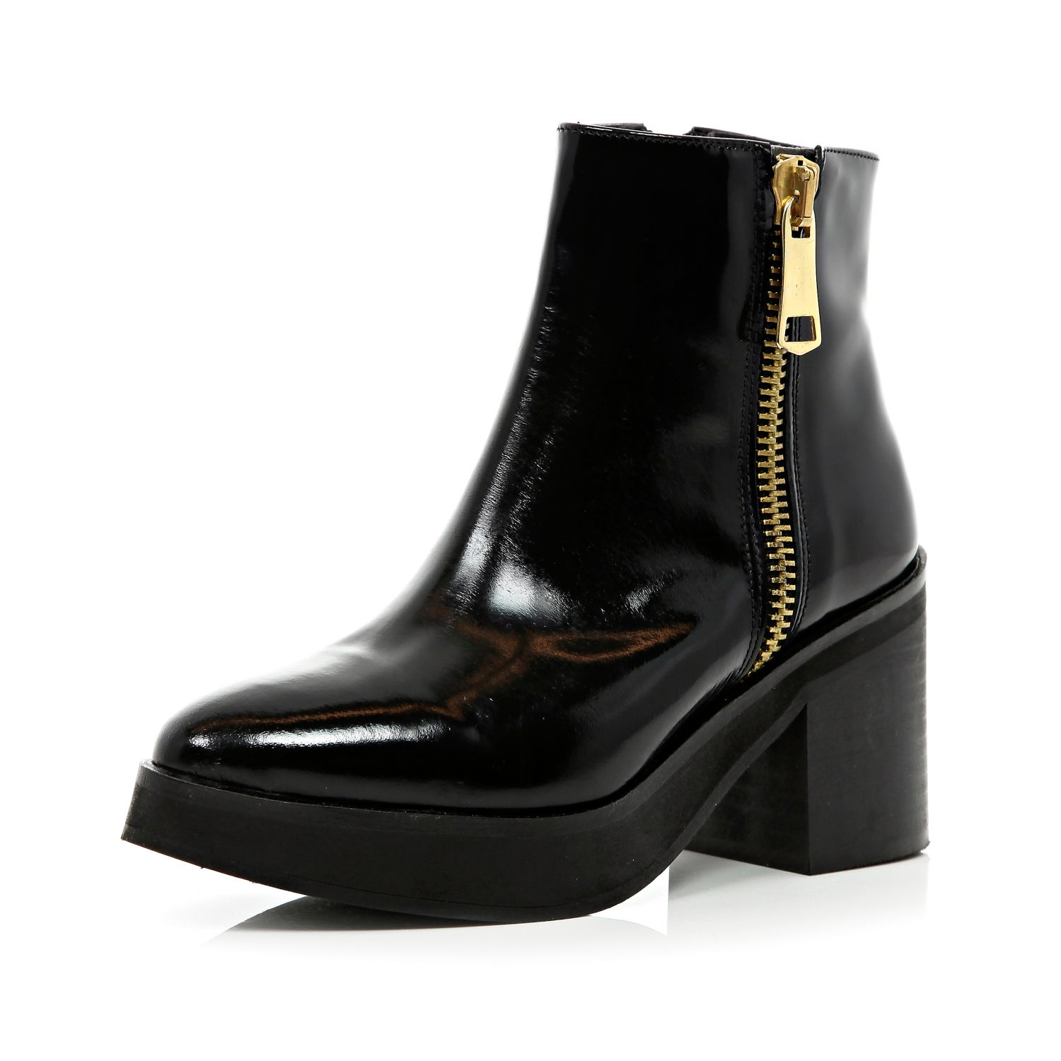 River island black block heel pointed ankle boots in black for Black block