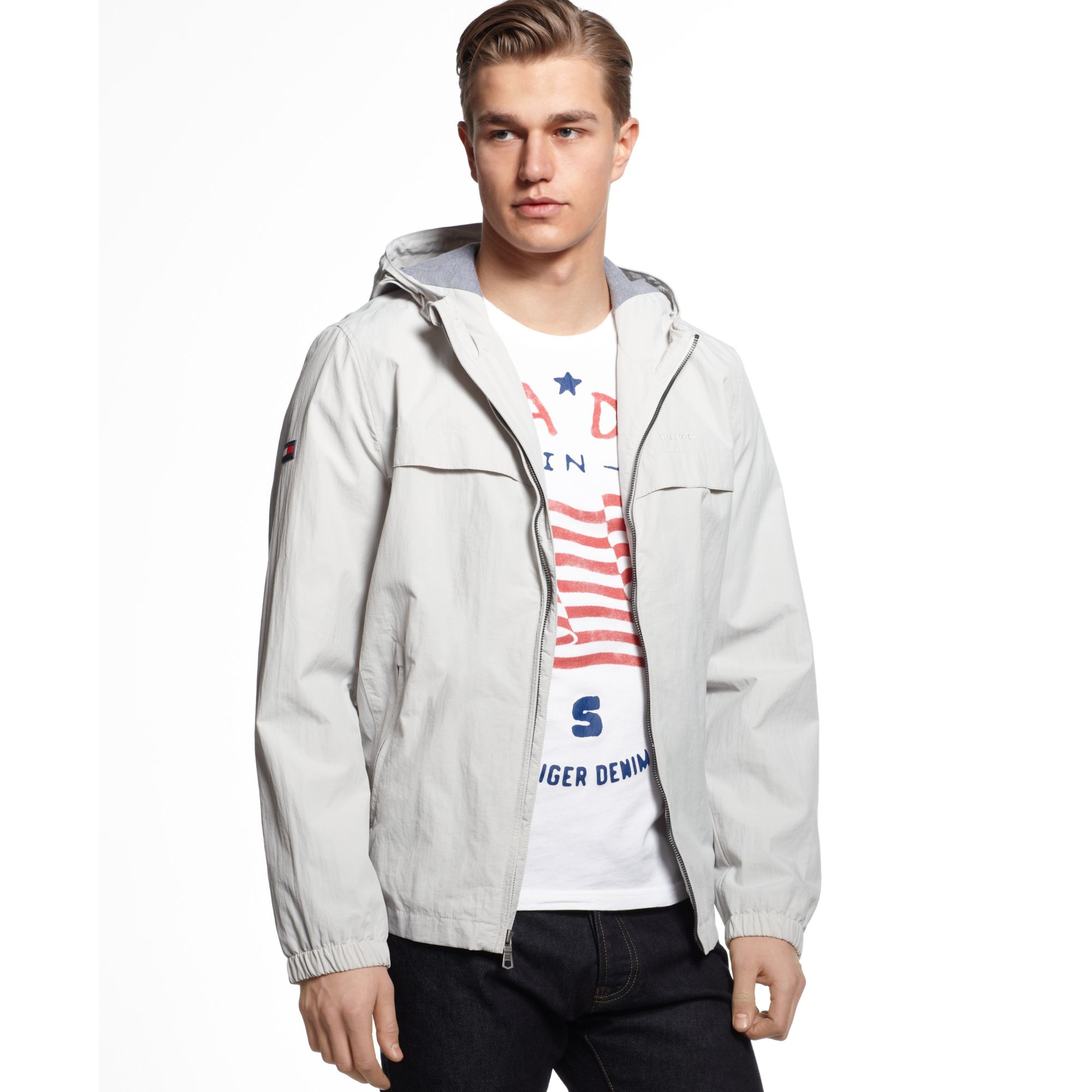 tommy hilfiger hooded performance jacket in white for men. Black Bedroom Furniture Sets. Home Design Ideas
