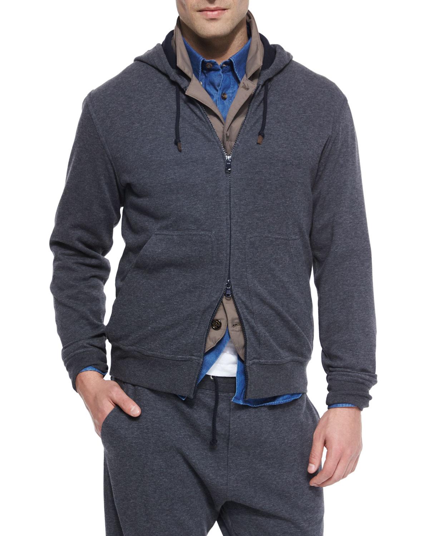 Zip Hoodie Knitting Pattern : Brunello cucinelli Zip-front Knit Hoodie in Gray for Men ...