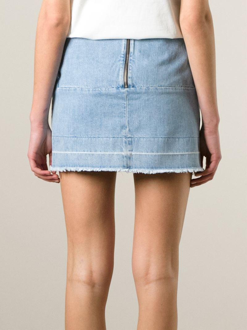 aries frayed edge mini denim skirt in blue lyst
