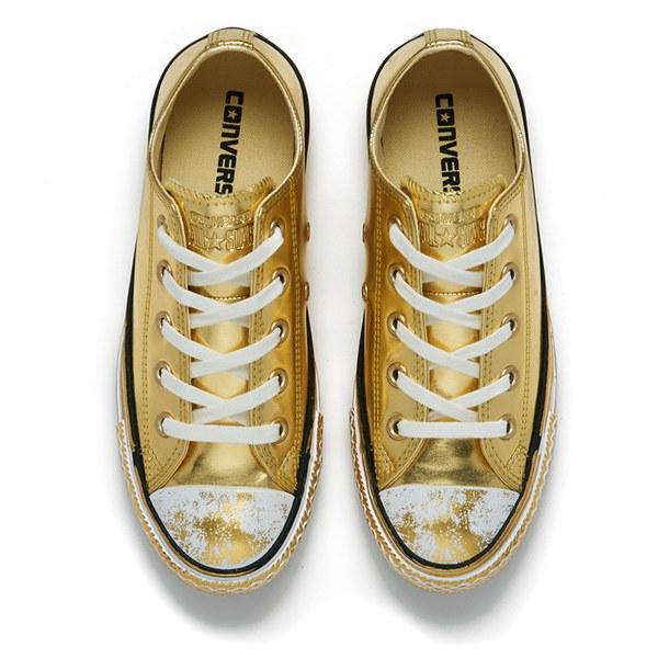 converse ox low gold metallic