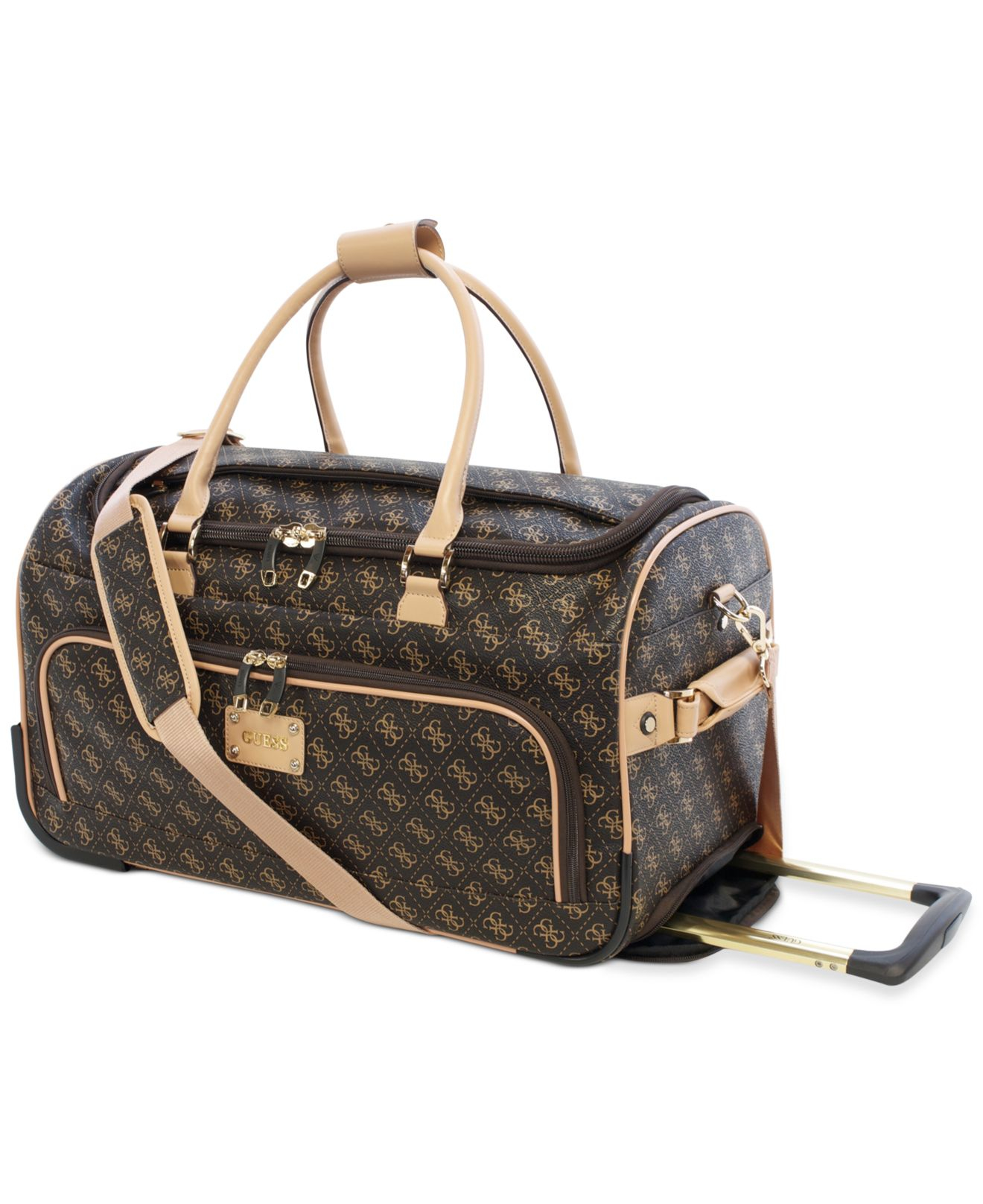 966bf1e645 Lyst - Guess Logo Affair Dlx Rolling Duffel in Brown for Men