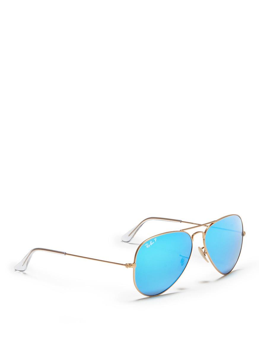 Ray Ban Aviator Large Metal Mirror Sunglasses In