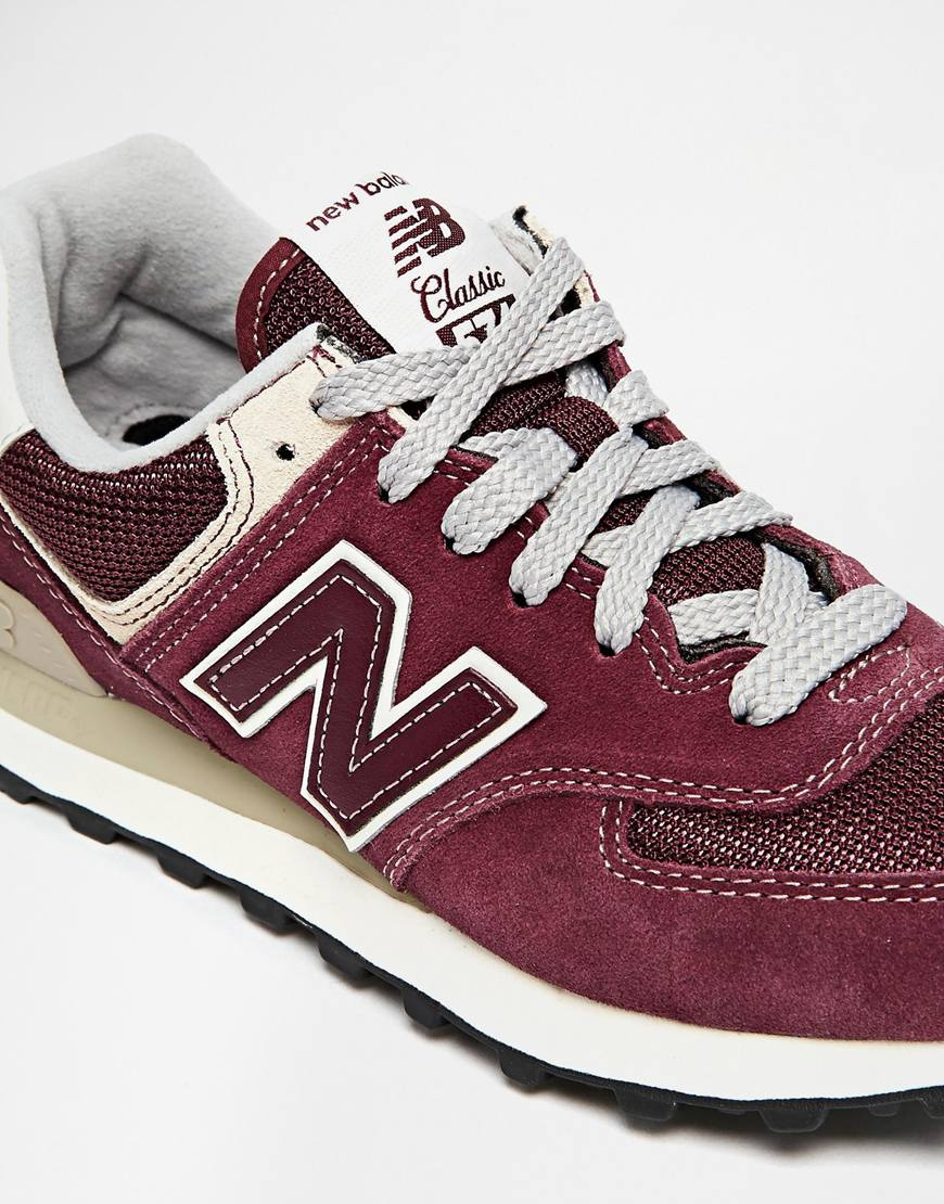 Lyst - New Balance 574 Burgundy Suede Mesh Sneakers in Purple 354de9381c
