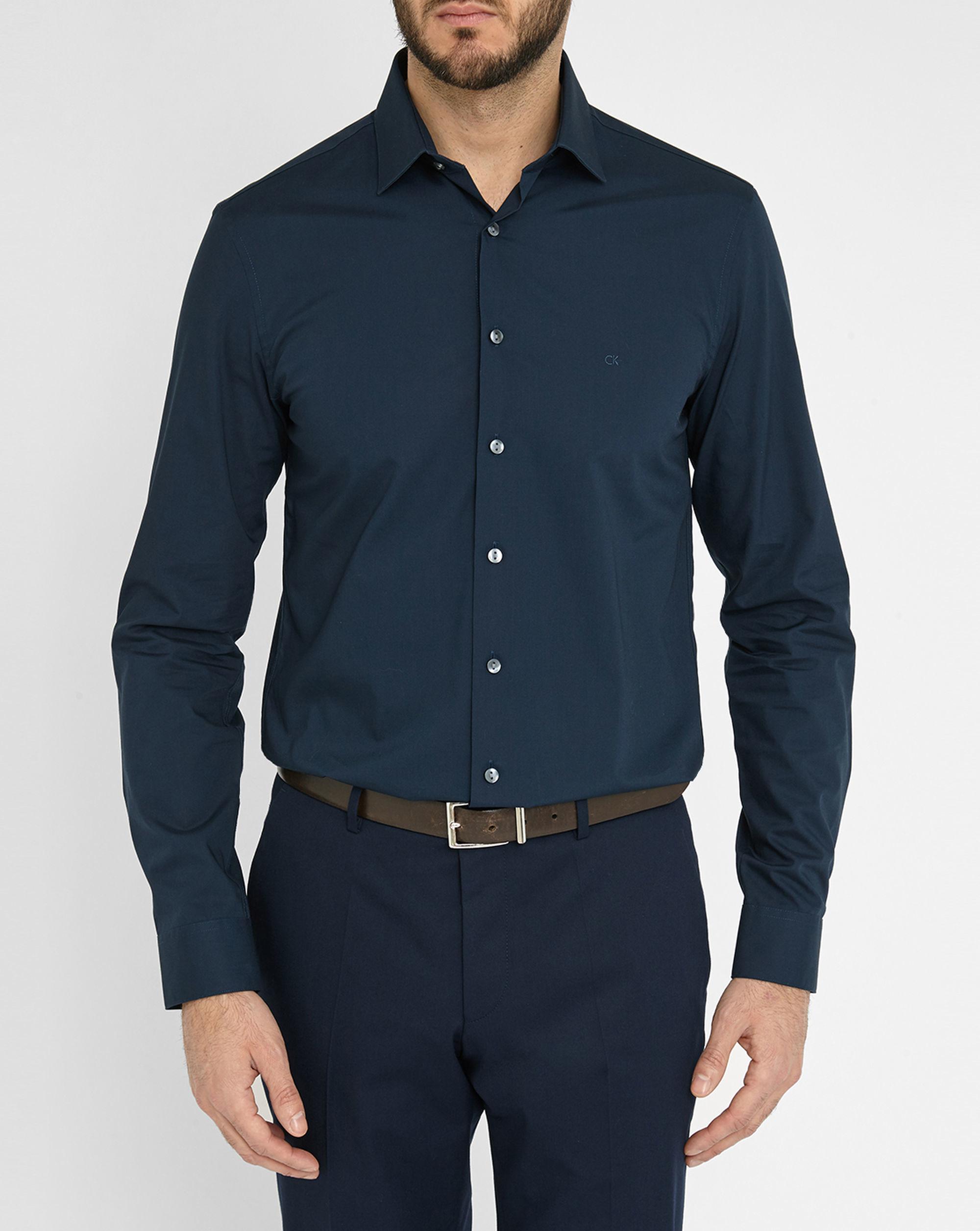 Calvin klein navy poplin stretch slim fit shirt in blue for Calvin klein slim fit stretch shirt