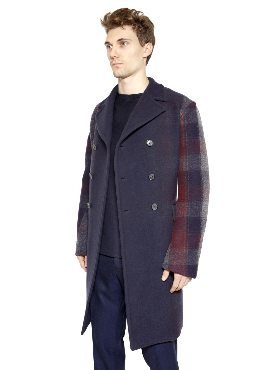 jil sander degrad checked needle punch wool coat in blue. Black Bedroom Furniture Sets. Home Design Ideas