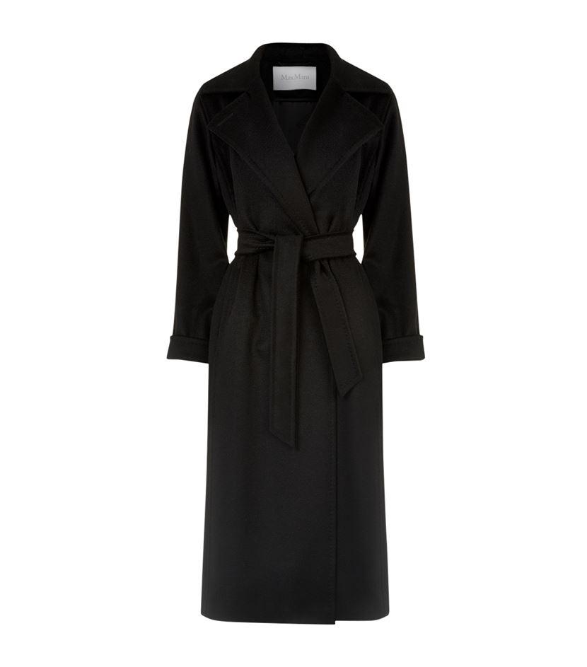 Max Mara Manuela Classic Camelhair Wrap Coat In Black Lyst