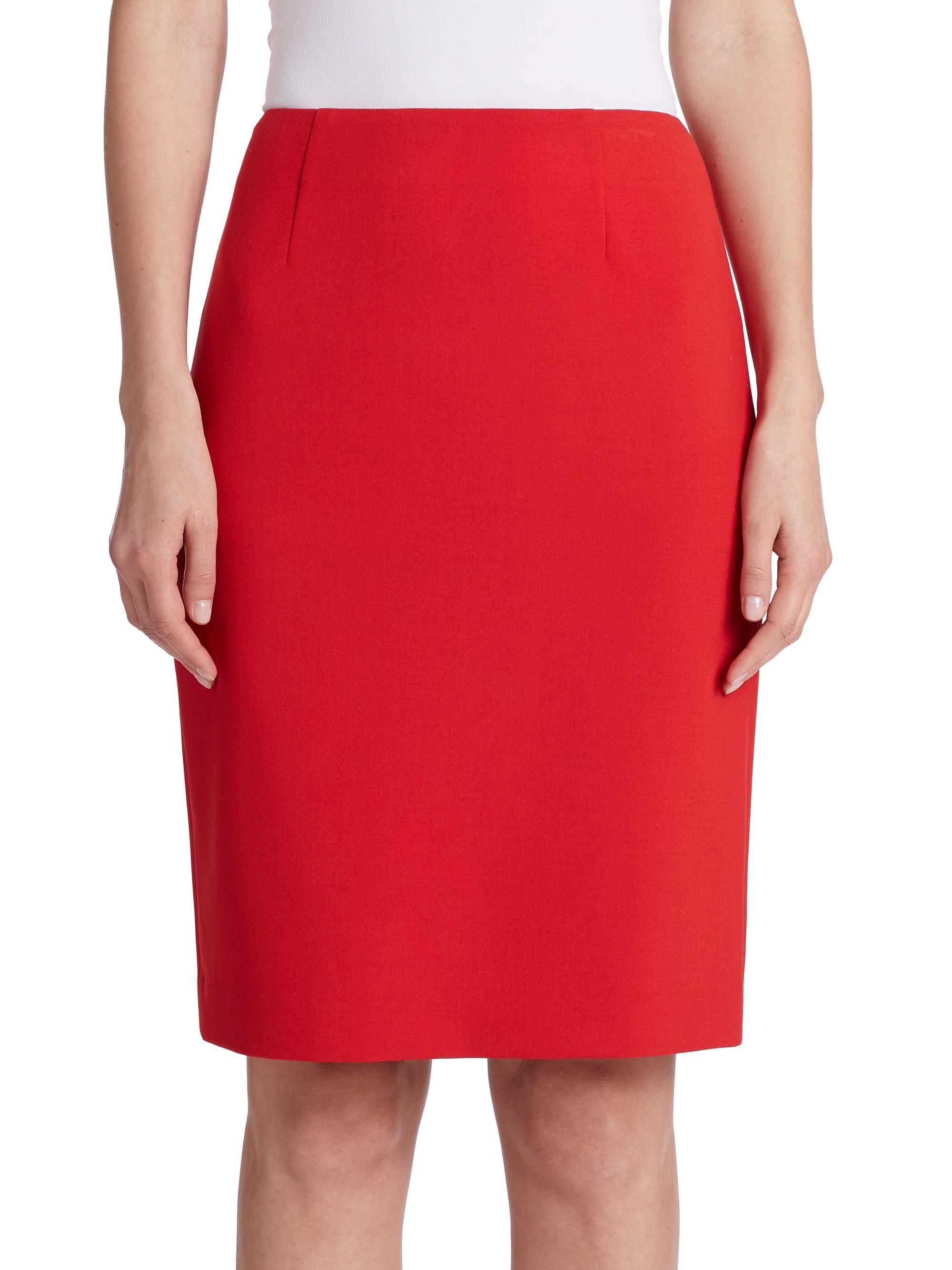 Diane von Furstenberg Red Shilah Pencil Skirt
