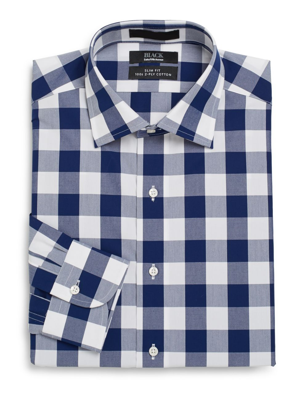 Saks fifth avenue black label slim fit buffalo check two for 2 ply cotton dress shirt