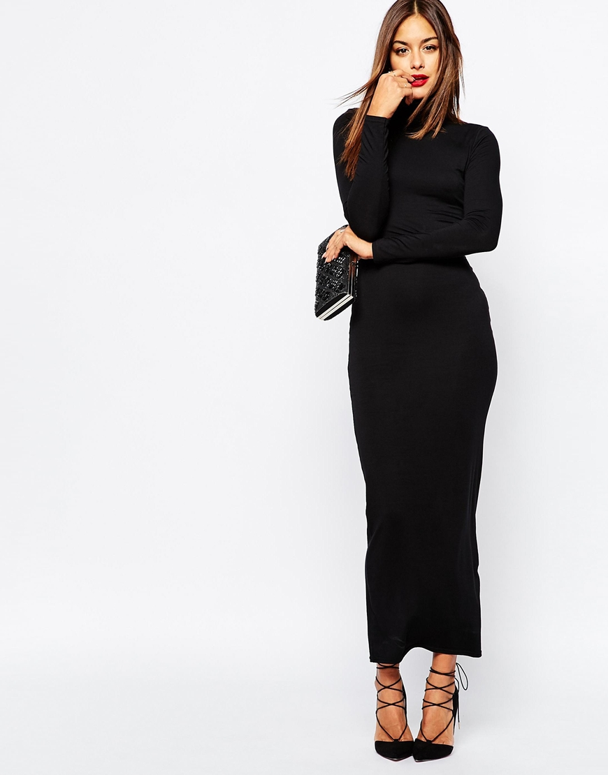 25109c39fbb5 Missguided High Neck Long Sleeve Maxi Dress in Black - Lyst
