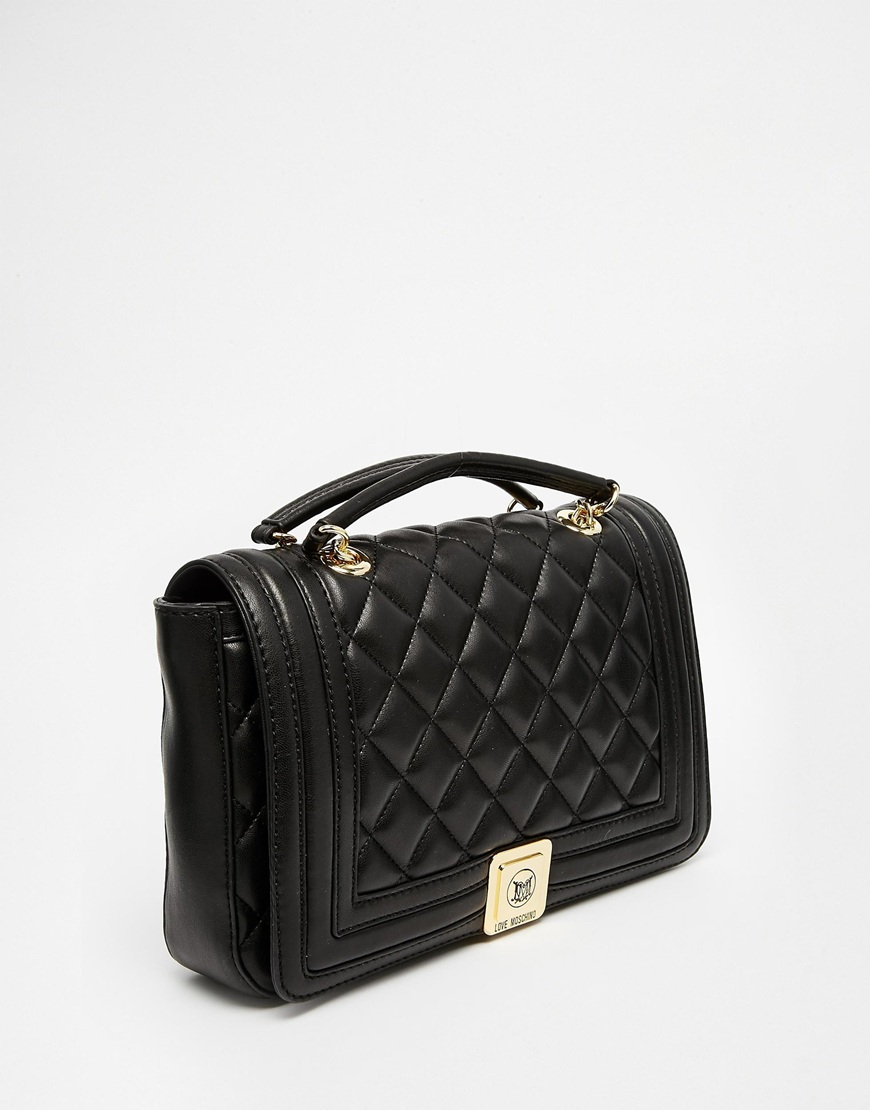 Lyst Love Moschino Quilted Shoulder Bag With Chain Strap