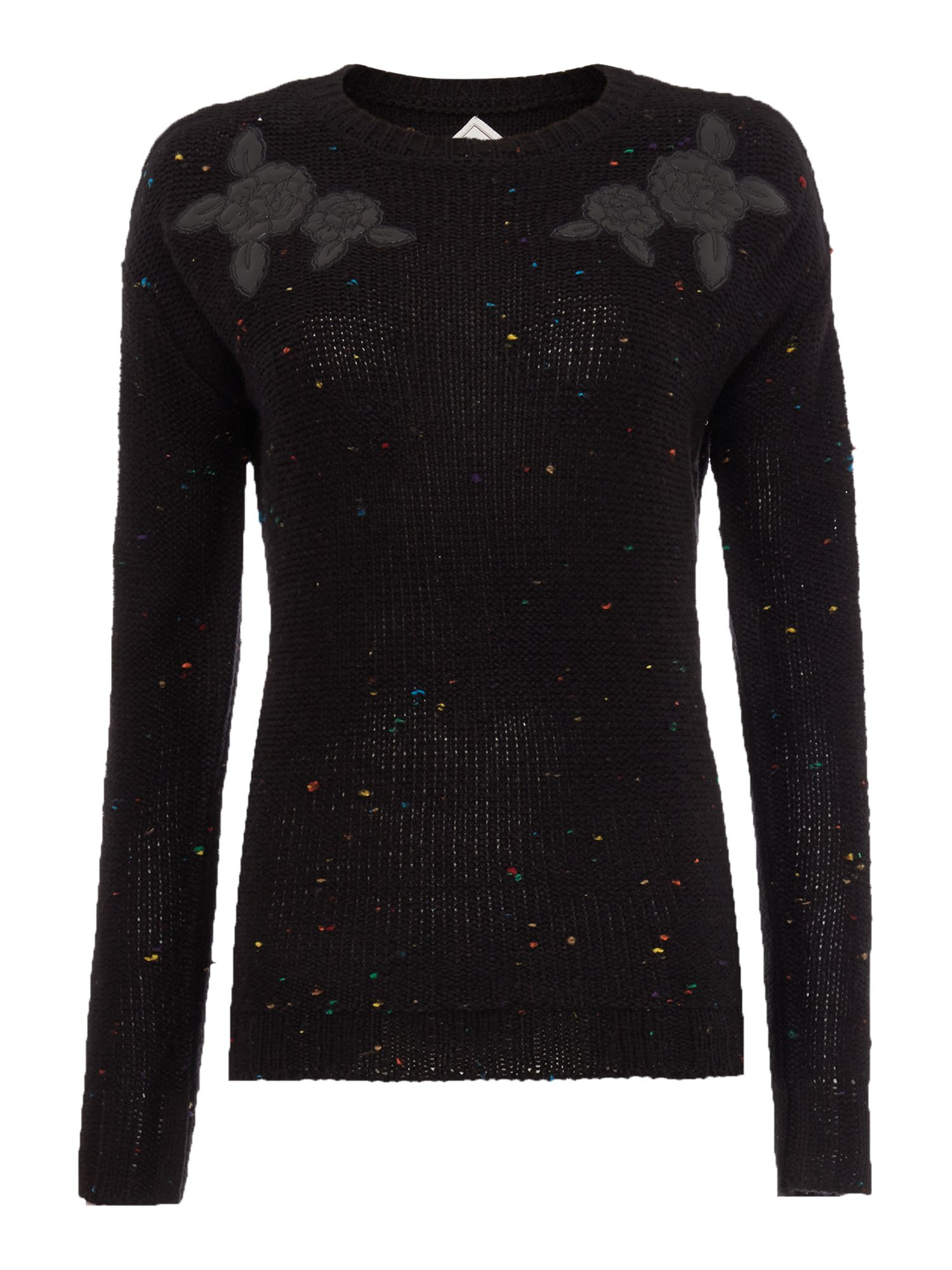 Chunky Knit Jumper Pattern : Bellfield Pu Pattern Chunky Knit Jumper in Black Lyst