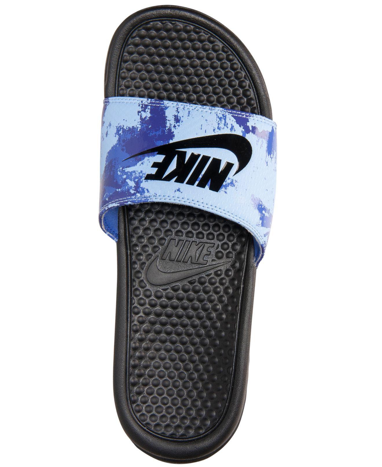 best service 77bcf d2046 Nike Men s Benassi Jdi Print Slide Sandals From Finish Line in Blue ...