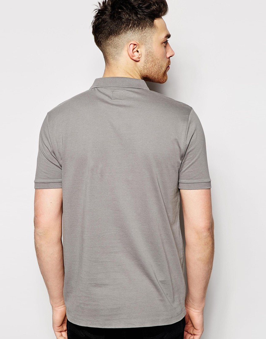 Lyst Asos Polo Shirt With Pocket Embroidery In Gray For Men
