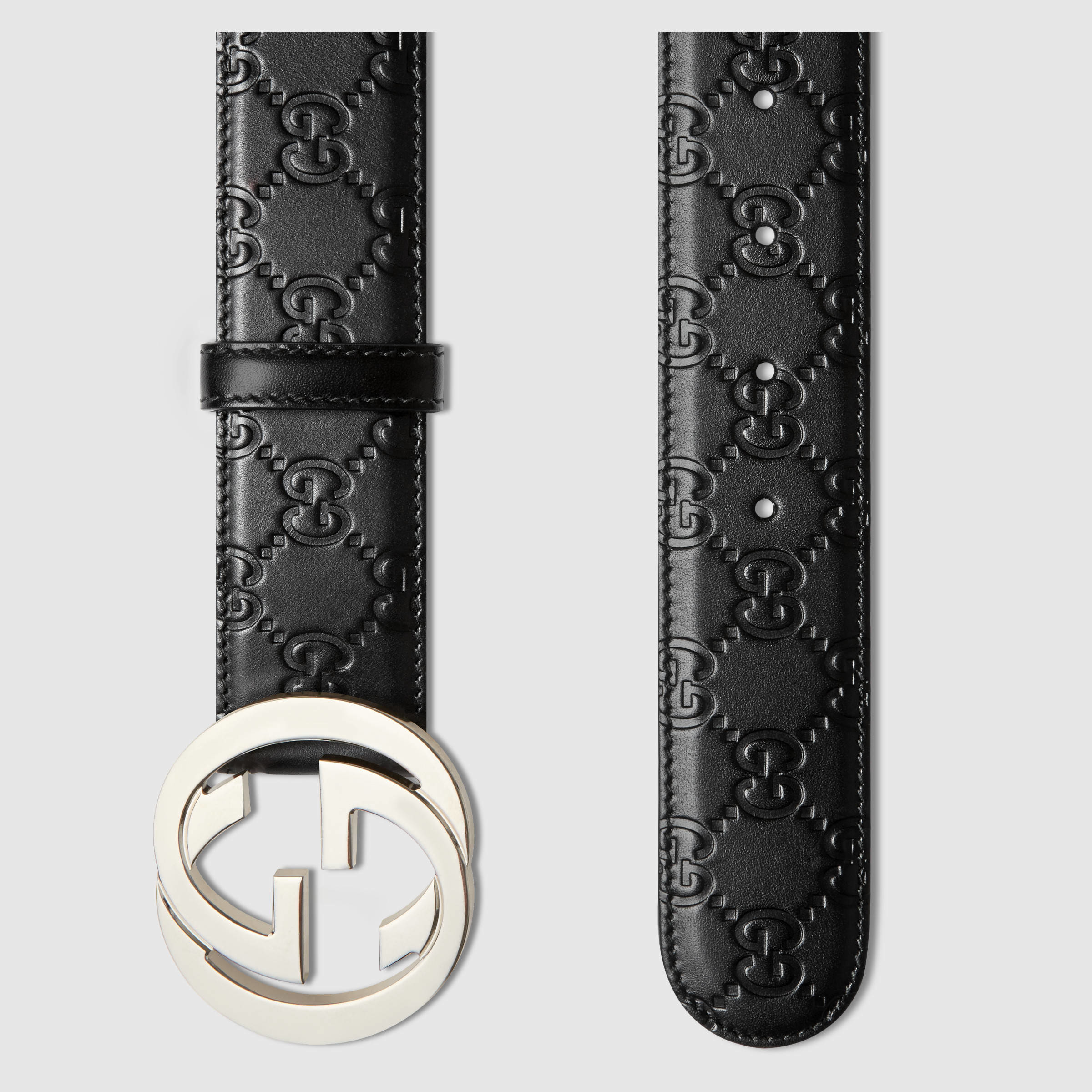 Gucci Signature Leather Belt in Black for Men | Lyst