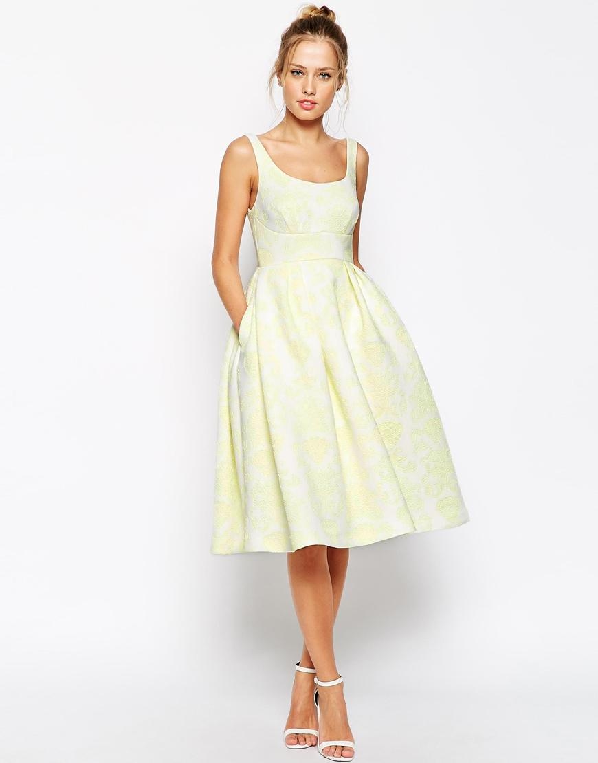 48de195a8f03 ASOS Premium Embossed Printed Scuba Midi Dress - Yellow in Yellow - Lyst