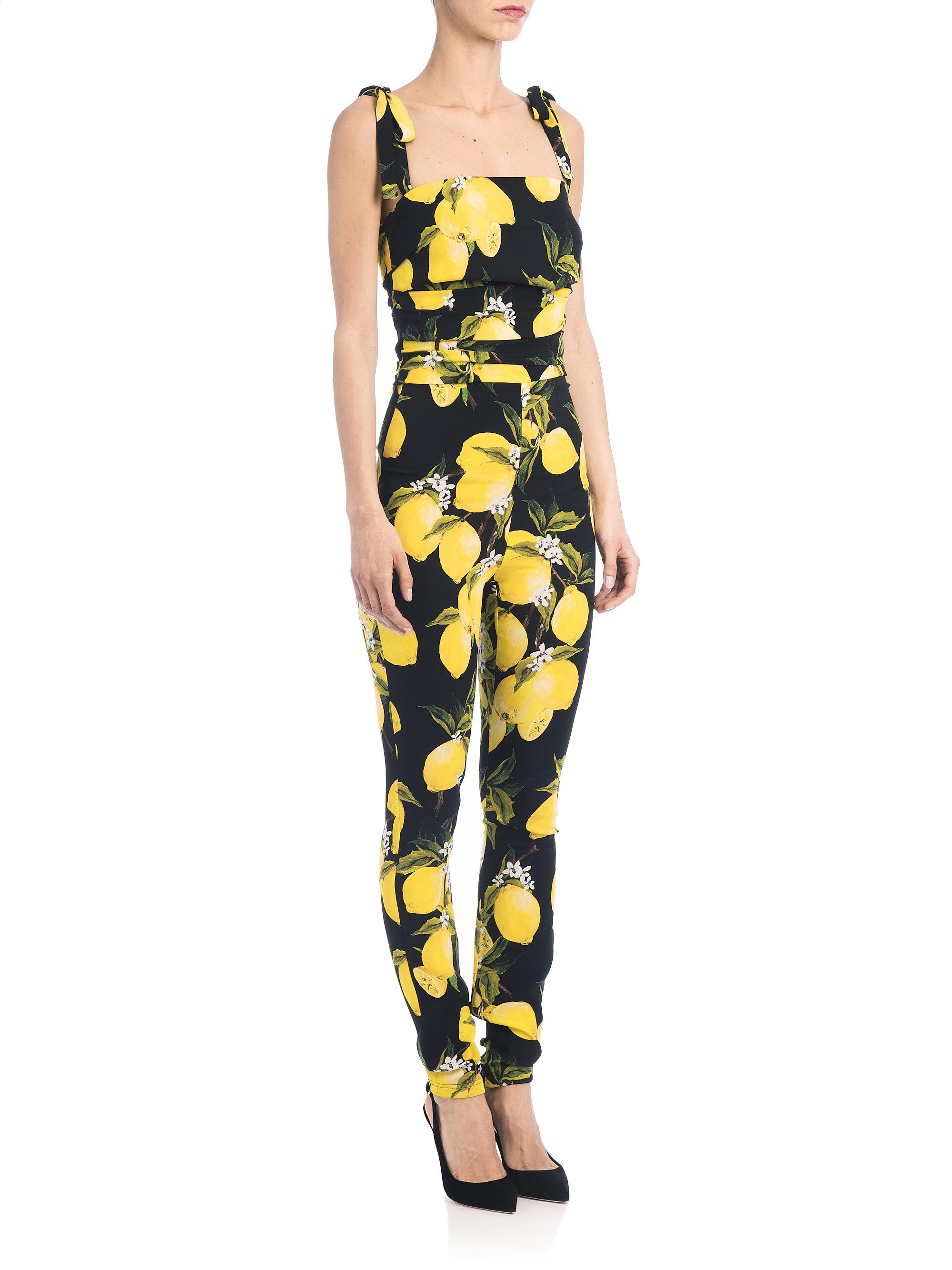 dolce gabbana black yellow lemon print charmeuse jumpsuit black product 2 138817428 normal