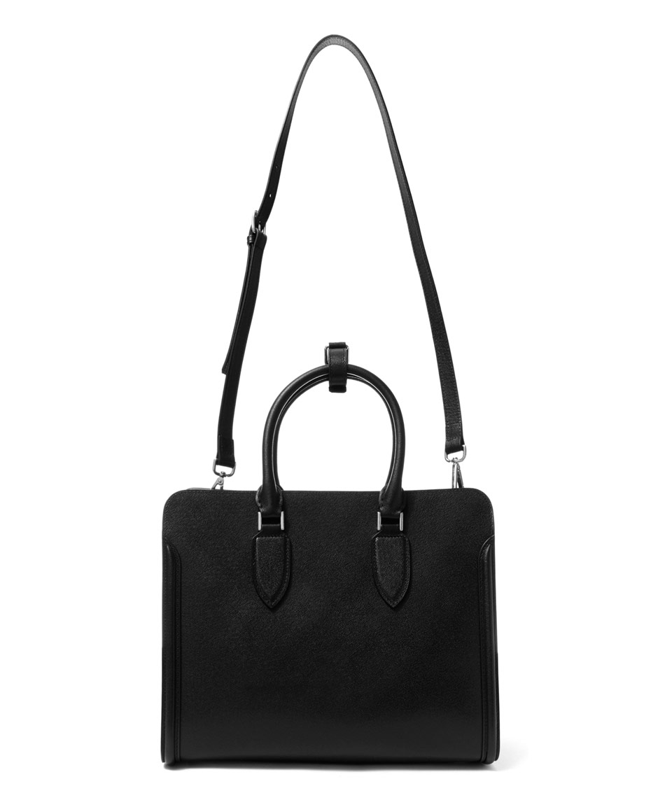 Alexander McQueen Leather Black Heroine Open Tote Bag