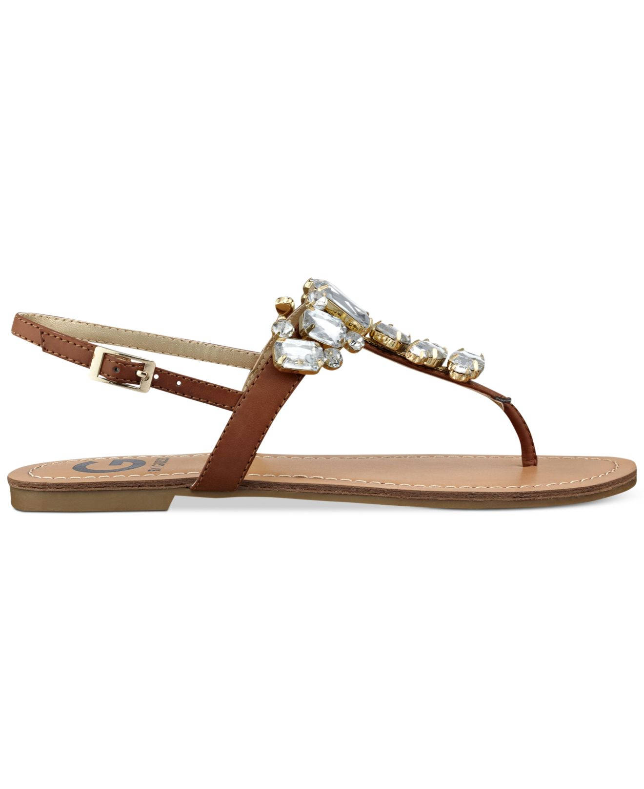 58c8d17ea Lyst - G by Guess Women S Kyli T-Strap Flat Thong Sandals in Brown