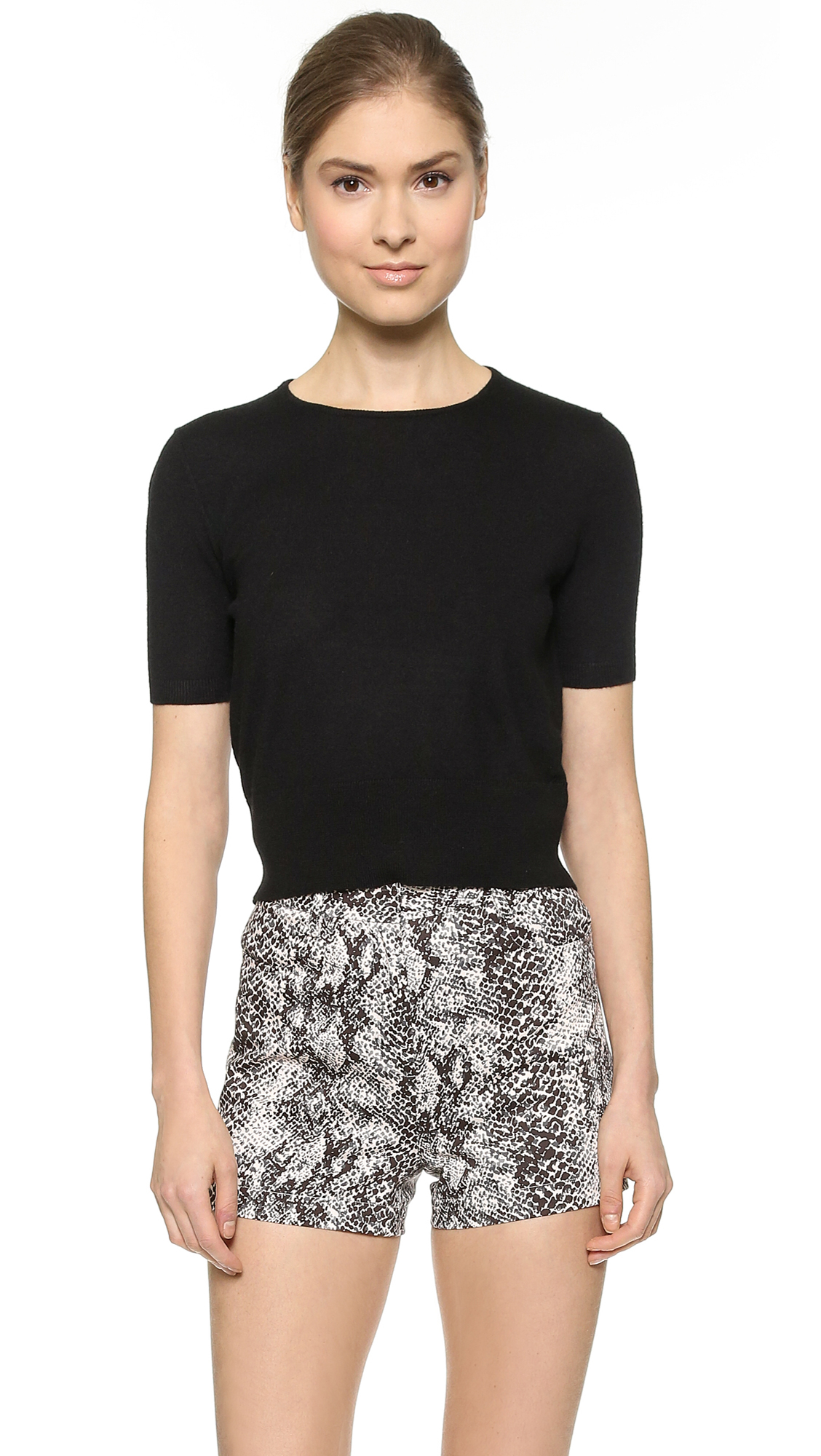 Tamara mellon Short Sleeve Cashmere Sweater - Black in Black | Lyst