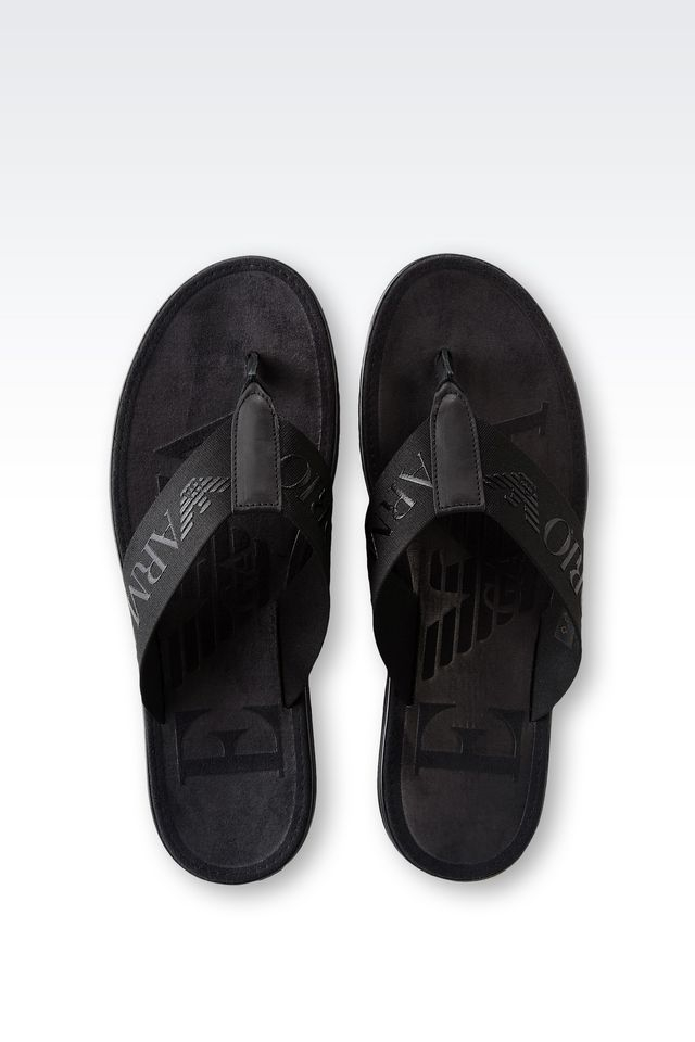 751ad00749098a Lyst - Emporio Armani Calfskin Flip Flop With Rubber Sole in Black ...