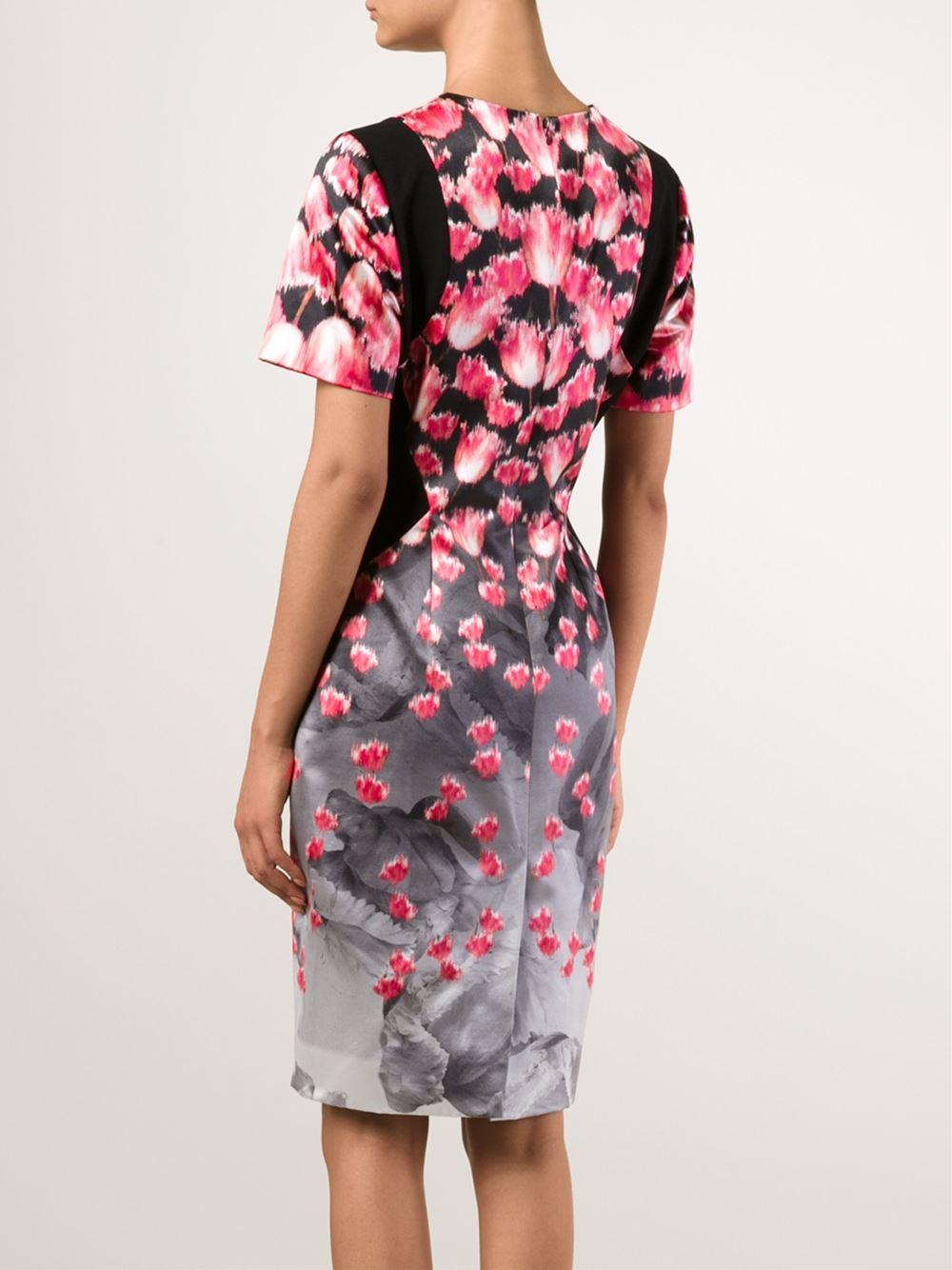 Prabal gurung Tulip-Print Degradé Dress in Pink (pink & purple ...