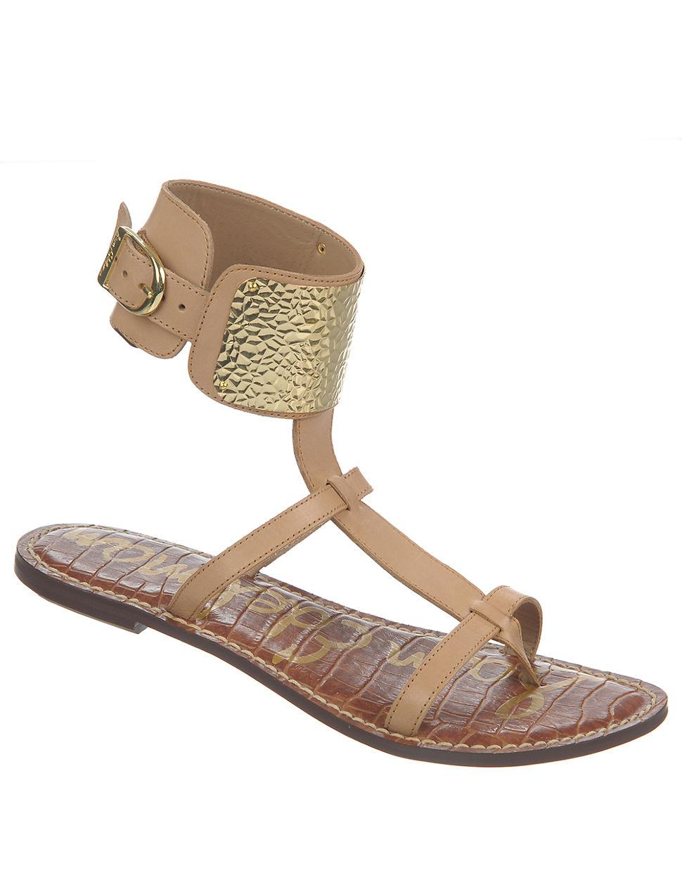 e59644fe033e1d Lyst - Sam Edelman Genette Leather Gladiator Sandals in Natural