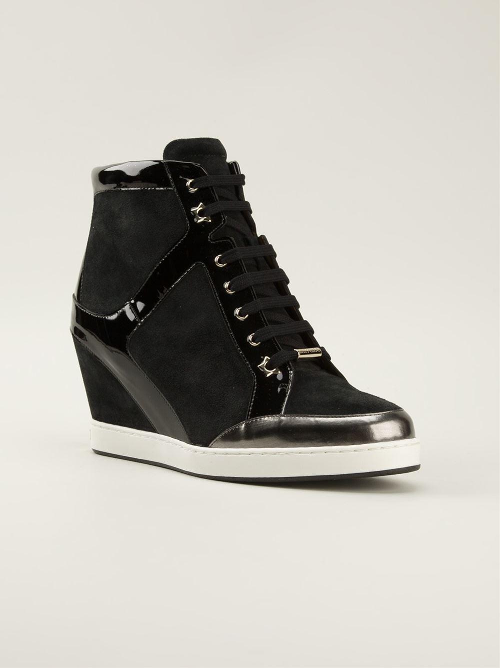 Jimmy Choo 'Preston' Wedge Hi-Top Sneakers in Black