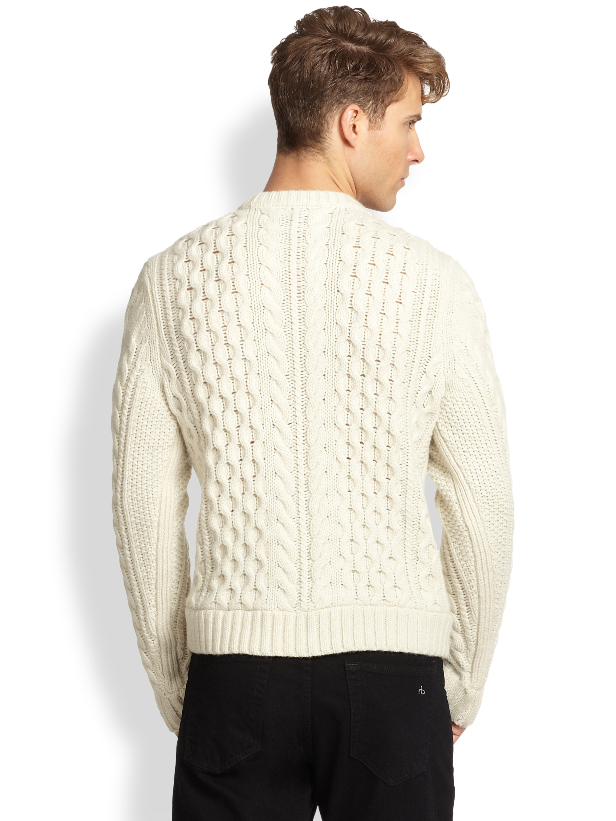 Lyst Rag Bone Trevor Cable Knit Wool Sweater In White For Men