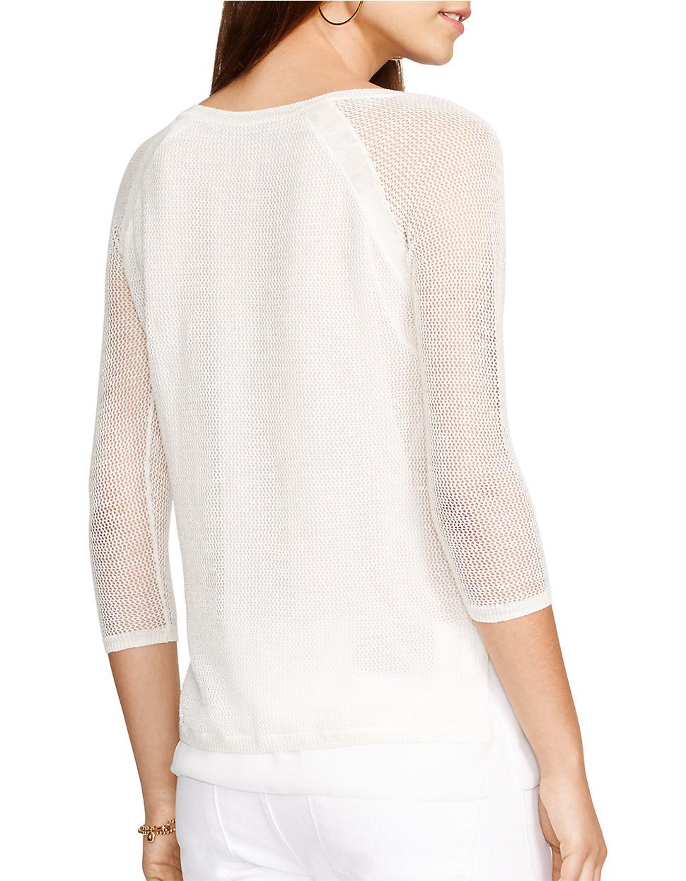 Lauren By Ralph Lauren Mesh Linen Cotton Blend Top In