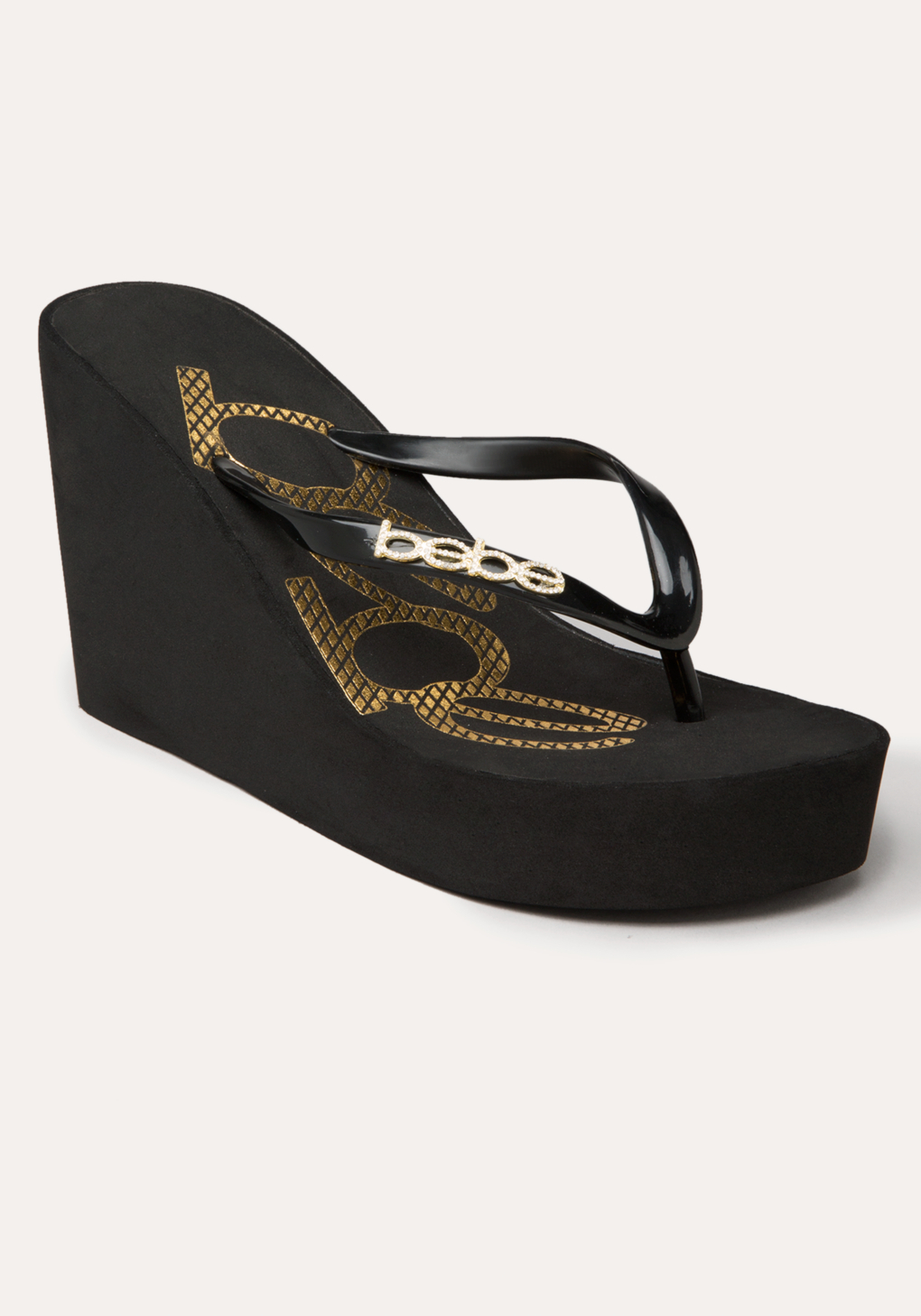 Bebe Black And Gold Shoes