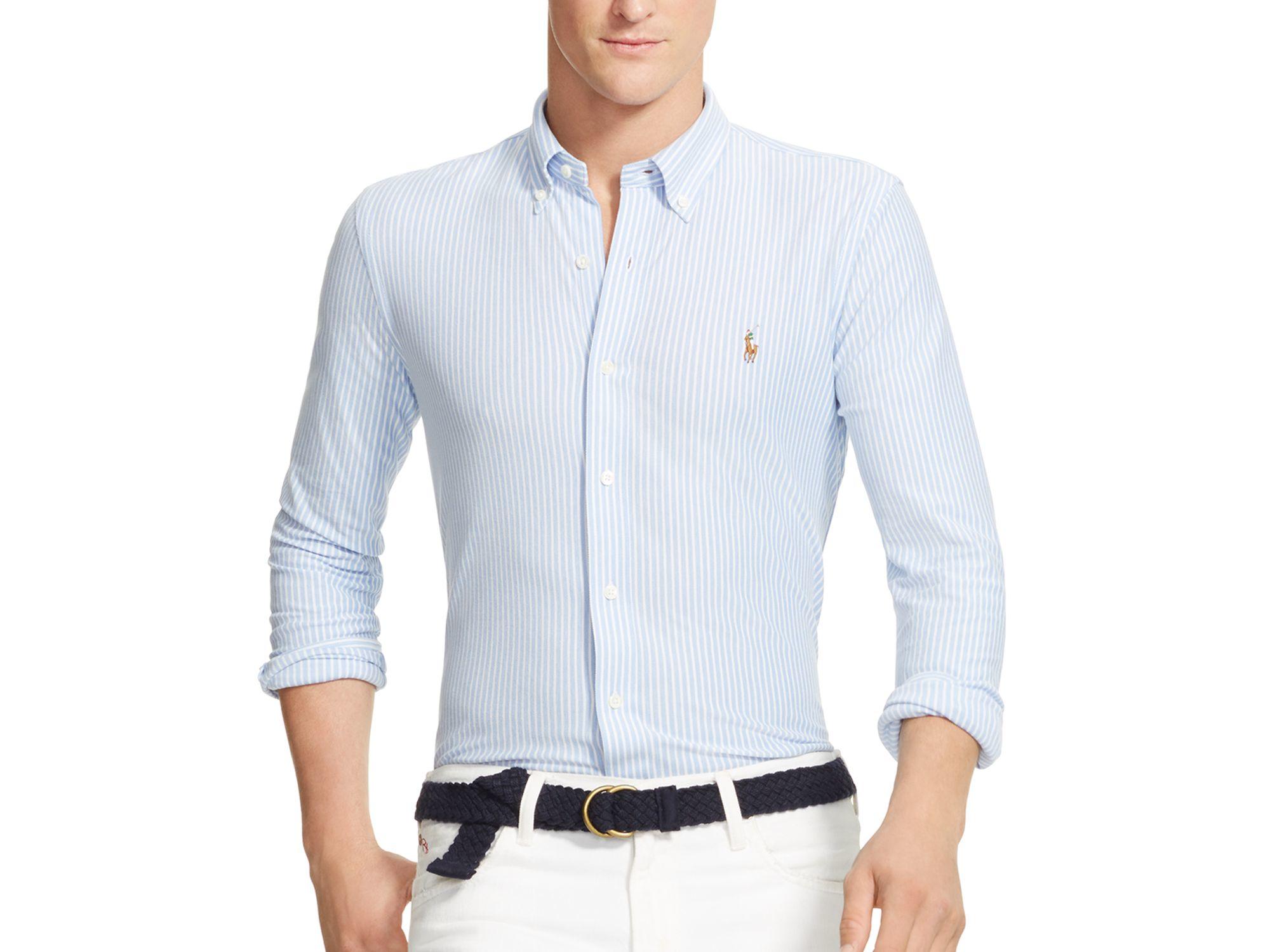 e5004c9cf Polo Ralph Lauren Knit Oxford Shirt Slim Fit Button Down In Blue