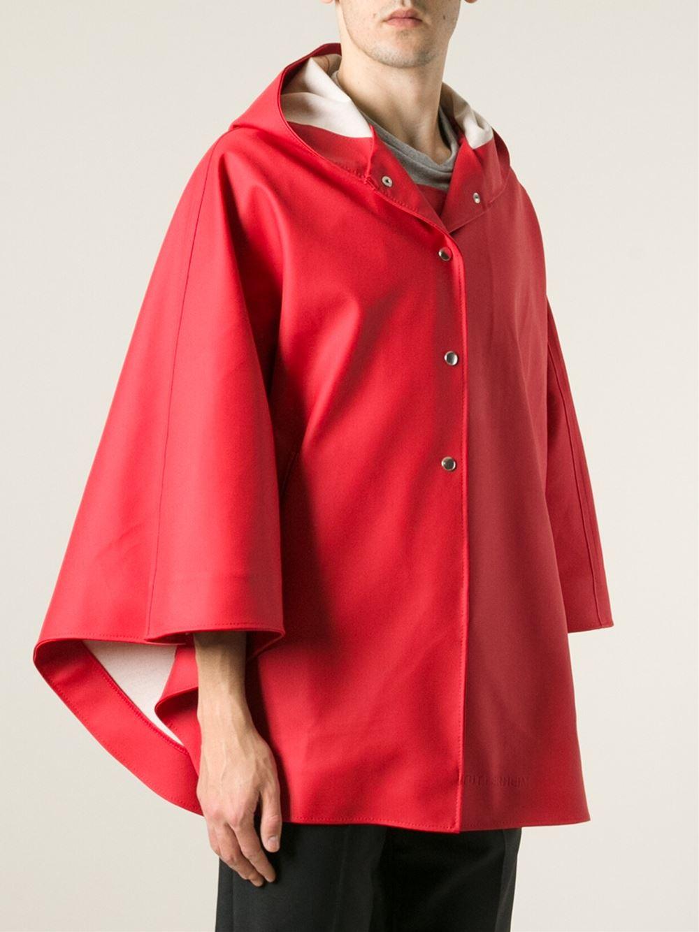 Stutterheim Oland Raincoat Cape In Red Lyst