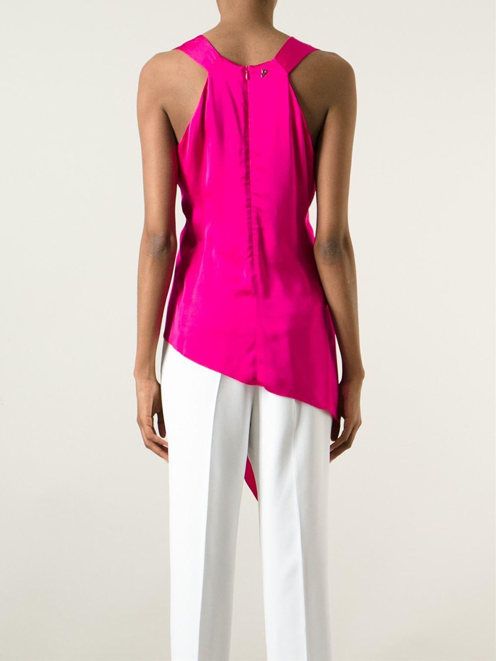 Dondup Sleeveless Asymmetric Blouse In Pink Lyst