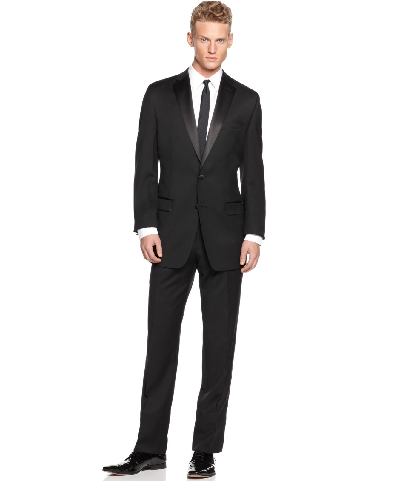 Slim fit tuxedo the image kid has it for Black tuxedo shirt slim fit