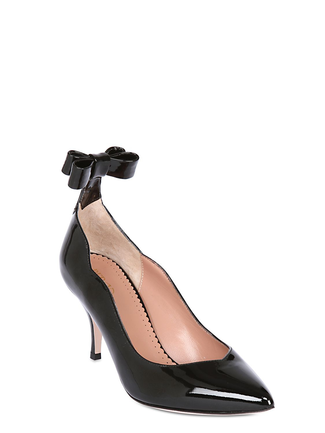 160a36e17cb Red Valentino 70Mm Patent Leather Bow Pumps in Black