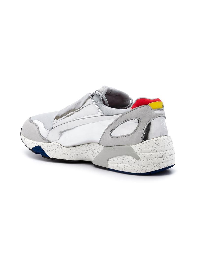 Alexander McQueen X Puma Gray Leather and Neoprene Low Top Sneakers