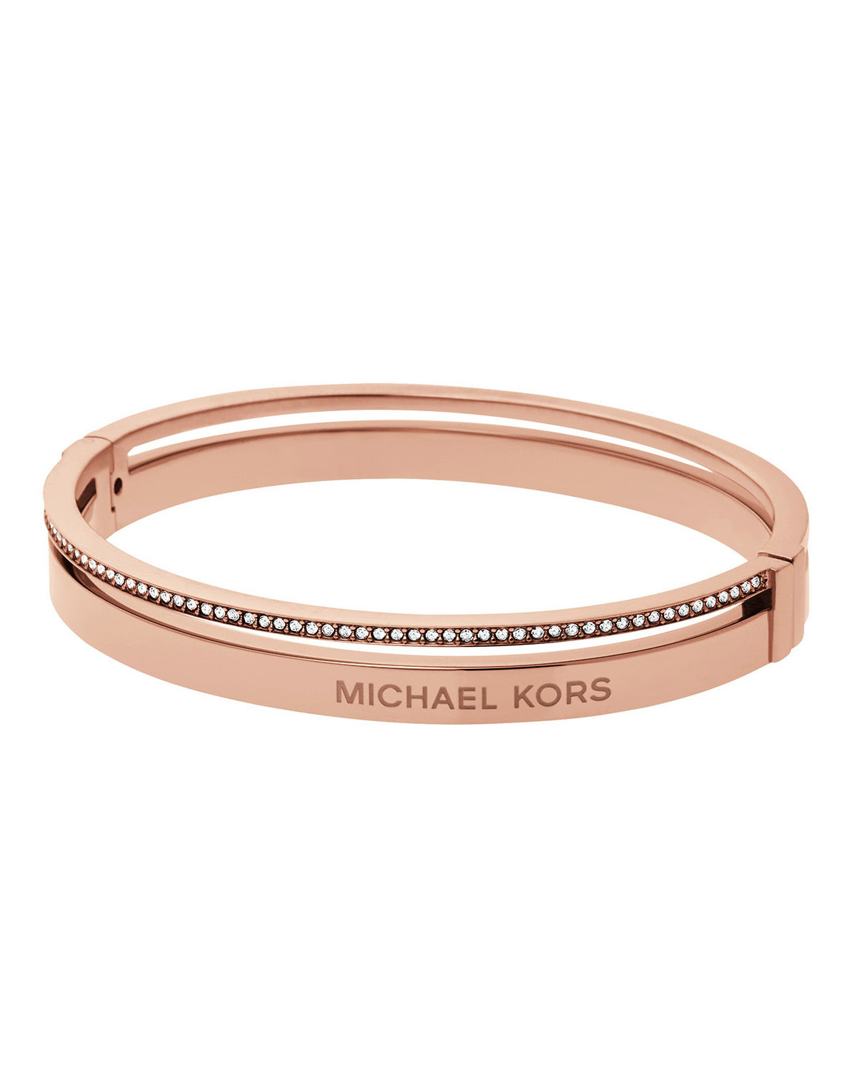 michael kors steel logo bangle bracelet in pink lyst. Black Bedroom Furniture Sets. Home Design Ideas