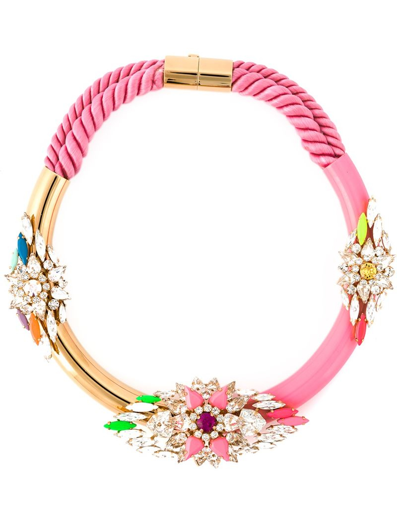 Shourouk 'zulu' Necklace in Pink & Purple (Pink)