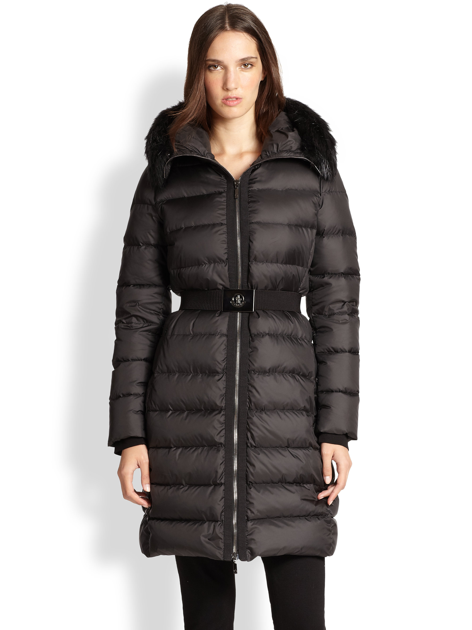 moncler fur trim fabre puffer jacket in black lyst. Black Bedroom Furniture Sets. Home Design Ideas