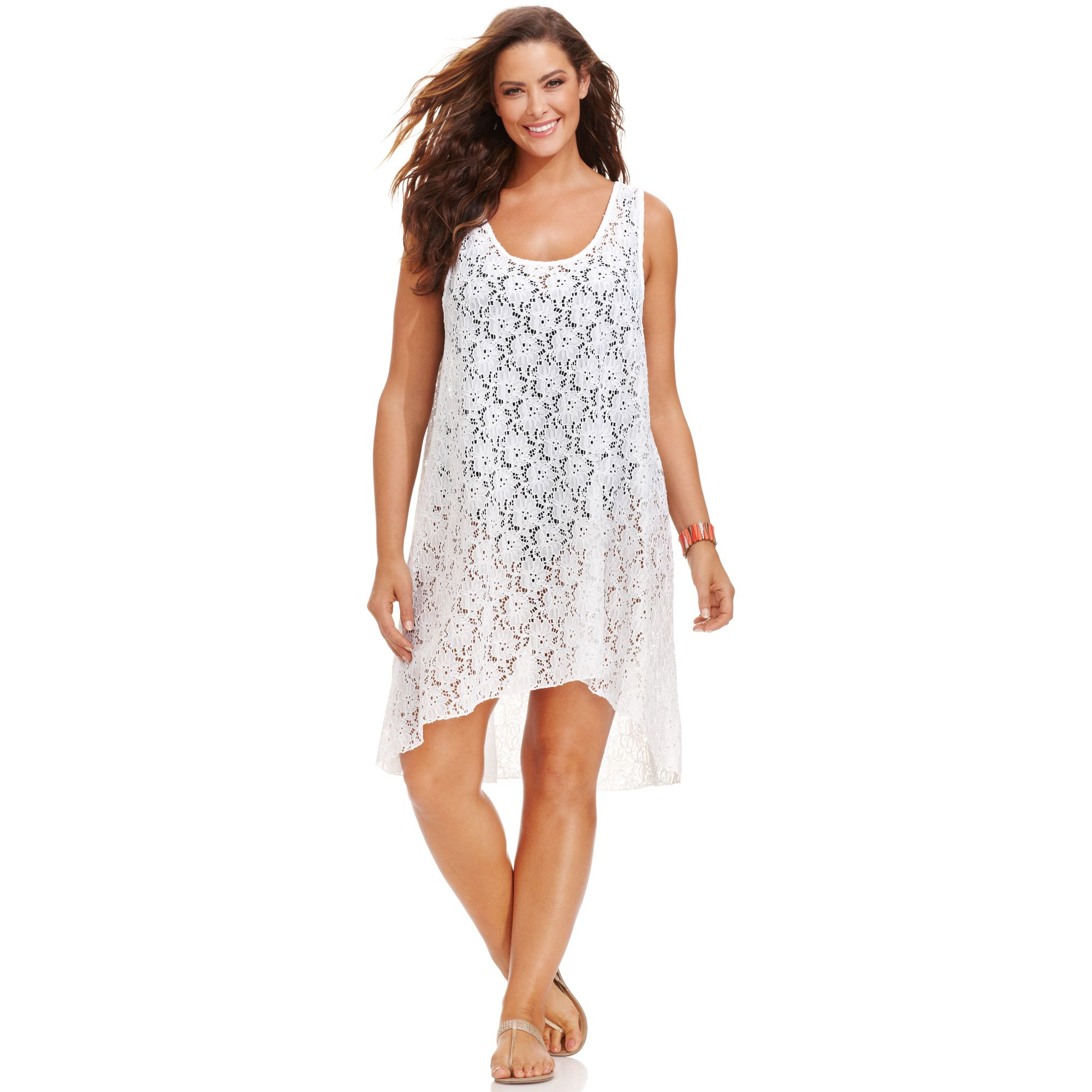 Plus Size Lace Highlow Dress Cover Up